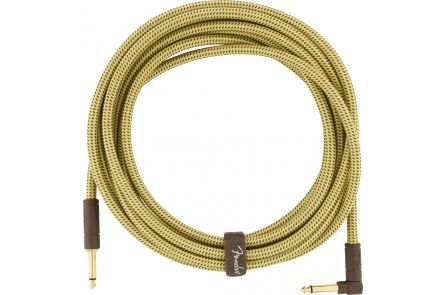 Fender Deluxe Series Instrument Cable - Straight/Angle - 18.6' - Tweed