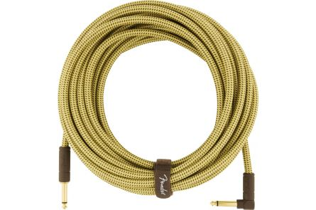Fender Deluxe Series Instrument Cable - Straight/Angle - 25' - Tweed