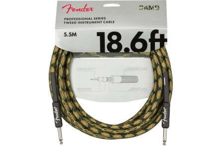 Fender Professional Series Instrument Cable - Straight/Straight - 18.6' - Woodland Camo