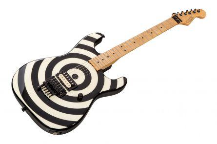 GMW Guitarworks USA Strat 1H FR - Black & White Bullseye - Birdseye MN D-Tuna