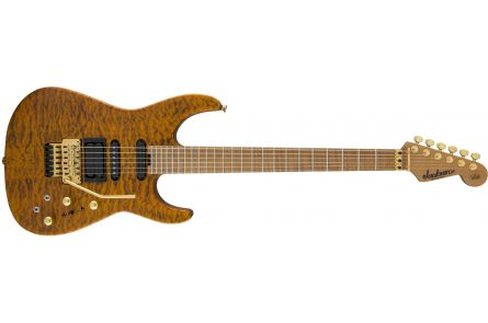Jackson USA Signature Phil Collen PC1 Satin Stain - Caramelized Flame Maple Fingerboard - Satin Transparent Amber