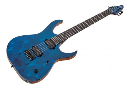 Mayones Duvell 6 Elite Custom Shop Buckeye Burl - Trans Blue Satin w/ Matching Headstock