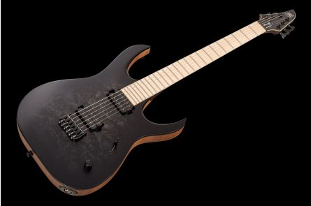 Mayones Duvell 6 Elite Custom Shop - Trans Black Burst Satin Paint-Over-Binding Birdseye MN