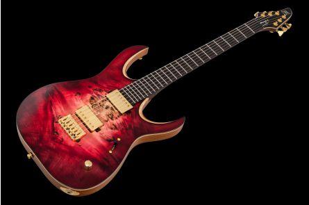 Mayones Duvell 6 Elite Custom - Trans Natural 3-Tone Red Burst - Gold HW