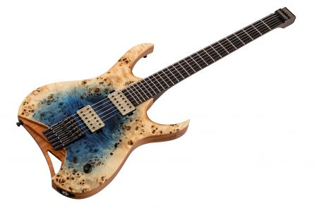Mayones Hydra 6 Elite Headless - Trans Natural Fade Blue Burst In Gloss