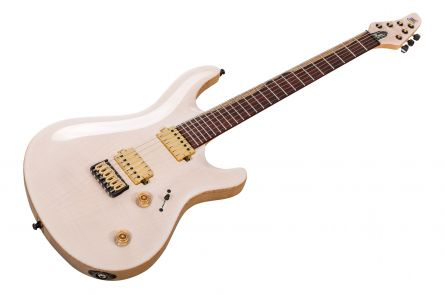 Mayones Regius 6 Core Classic Custom Shop - Trans White Gloss - Cocobolo FB