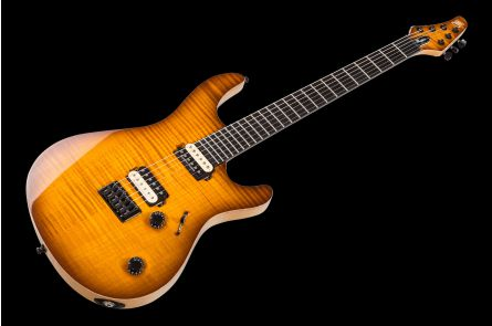 Mayones Regius 6 - Transparent Amber Burst Gloss - 4A Flame Maple - Natural bindings