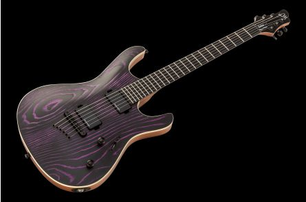 Mayones Setius 6 GTM Gothic - Monolith Black with Purple Ash Graining