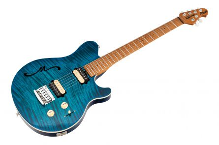 Music Man USA Axis Super Sport Semi-Hollow Body STD NB - PDN Neptune Blue Roasted Neck Limited Edition MN