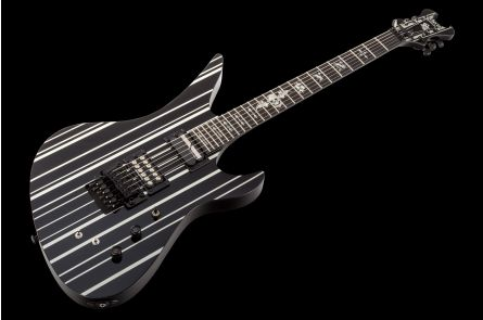 Schecter Synyster Gates Custom S Sustainiac SYNBS - Black w/ Silver Pinstripes