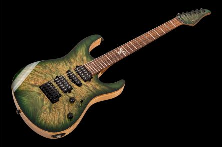Suhr Modern Custom Waterfall Burl HSH FTGB - Faded Trans Green Burst